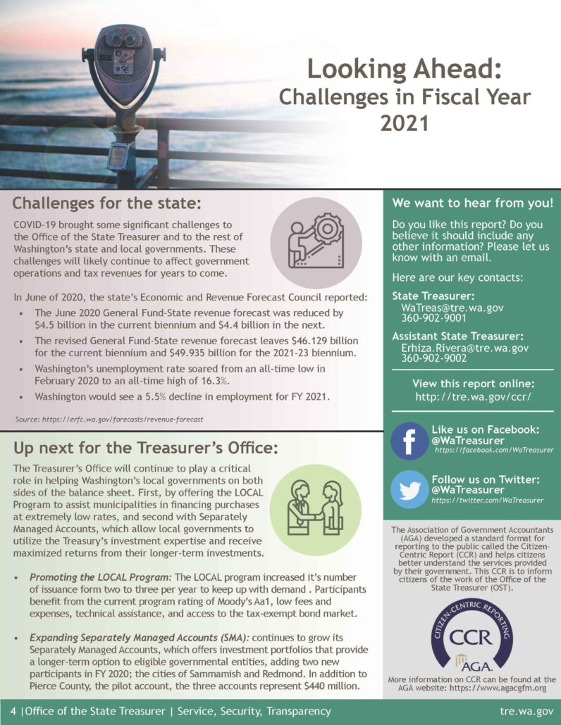 Washington State Office of the State Treasurer Citizen Centric Report for fiscal year 2020. Page 4